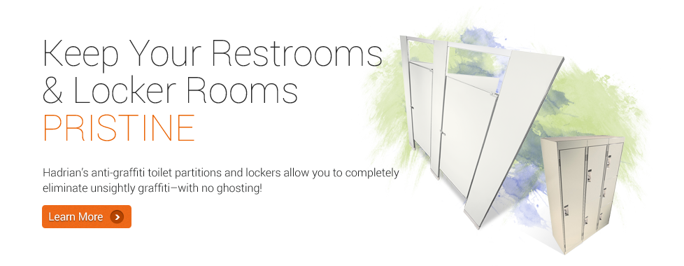 Keep Your Restroom & Locker Rooms Pristine - Hadrian's anti-graffiti toilet partitions and lockers allow you to completely eliminate unsightly graffiti-with no ghosting!