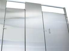 Stainless steel toilet partitions feature industry-best fire resistance, high recycled content and excellent corrosion resistance.